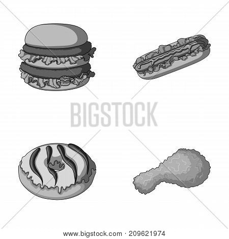 Fast food, meal, and other  icon in monochrome style.Hamburger, bun, flour, icons in set collection
