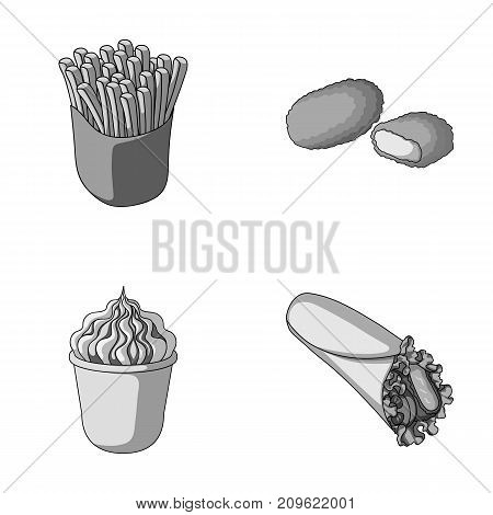 Food, refreshments, snacks and other  icon in monochrome style.Packaging, paper, potatoes icons in set collection.