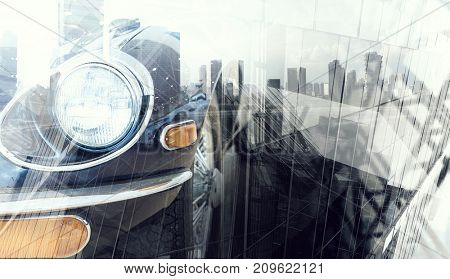 Close of elegant car. Mixed media
