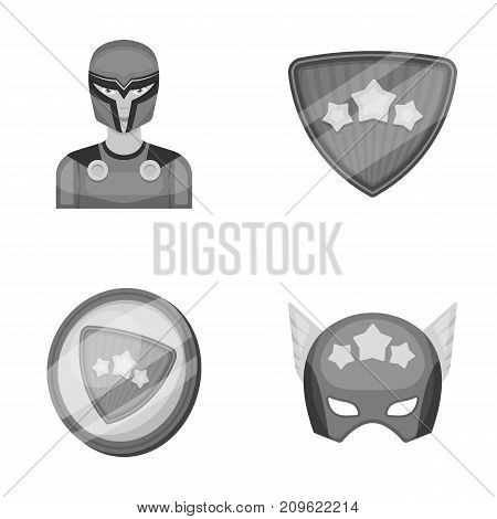 Man, mask, cloak, and other  icon in monochrome style.Costume, superhero, superforce icons in set collection