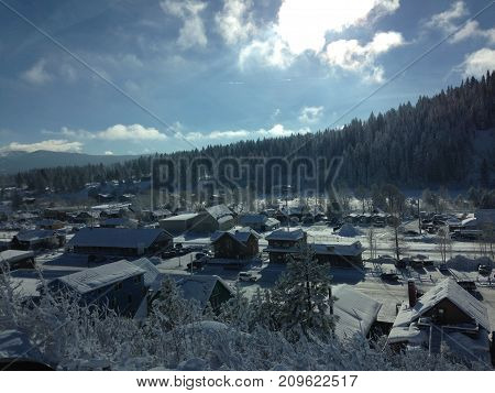 A cold winter morning among a quaint, small, old mining town
