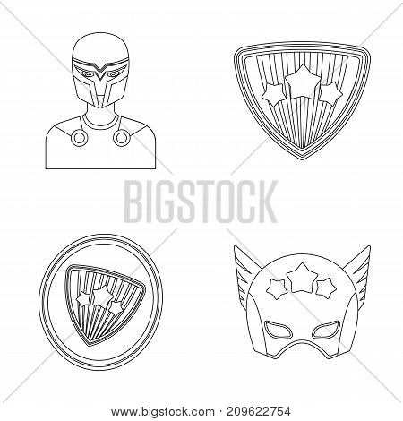 Man, mask, cloak, and other  icon in outline style.Costume, superhero, superforce icons in set collection