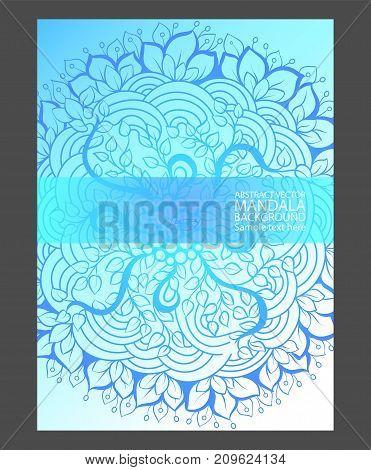 Mandala Simple Thin Line Stylish Background. Ornamental Vector Backdrop For Cards, Invitations, Bann