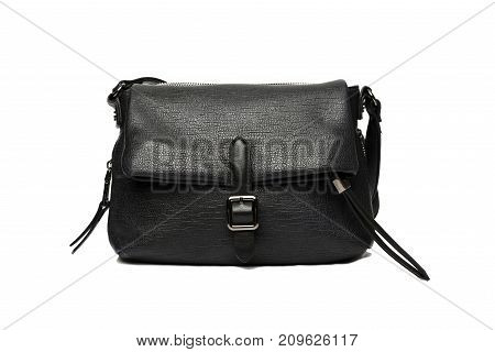 black fashion bag and studio shot with white background