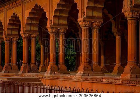 Jaipur, India - September 19, 2017: Muslim architecture detail of Diwan-i-Am, or Hall of Audience, inside the Red Fort in Delhi, India.