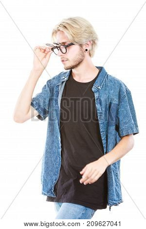Hipster Man With Eccentric Glasses Studio Shot