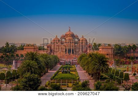 Jaipur, India - September 19, 2017: Akshardham Temple in New Delhi, India. Akshardham or Swaminarayan Akshardham complex is a Hindu mandir and a spiritual-cultural campus in India.