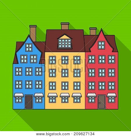 Building single icon in flat style.Building, vector symbol stock illustration .