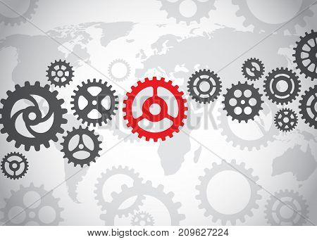 Gears on the world background, in grey colors, vector illustration