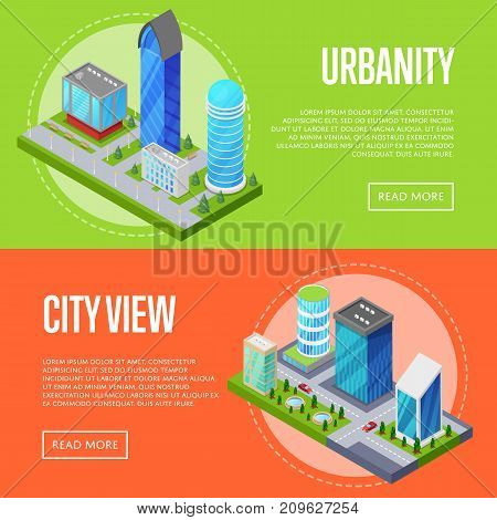 Modern urban life banners set. Skyscrapers, apartment, office, houses and streets with city traffic movement of car isometric 3D objects. Downtown business district, real estate vector illustration.