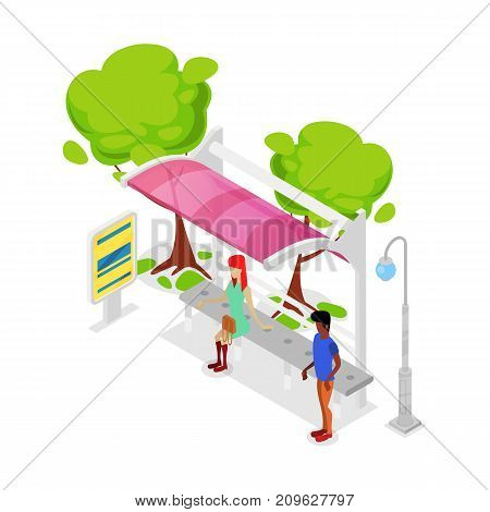City public transport stop isometric 3D icon. Modern transportation concept, modern town waiting station, urban and countryside traffic vector illustration.