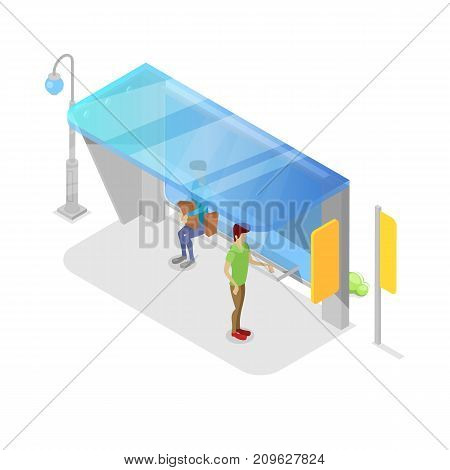 City transport platform isometric 3D icon. Public transportation concept, modern town waiting station, urban and countryside traffic stop vector illustration.