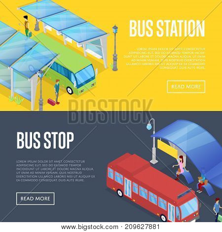Bus waiting station isometric 3D posters. Urban and countryside traffic concepts with transport stops vector illustration. City public transport, comfortable moving, modern bus passenger platform.