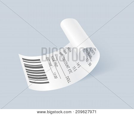 Shop paper print check vector element. Retail bill isolated object, realistic financial atm check, receipt records sale of goods or provision of service.
