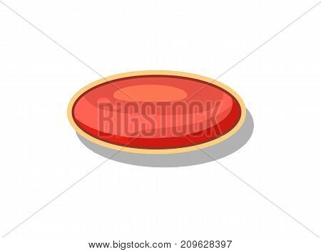 Glossy red button for computer game menu interface. Bright user design element, app graphical navigation object isolated vector illustration.
