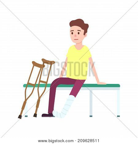 Patient on crutches with broken leg icon. Medical treatment and healthcare, clinical treatment of bone fractures vector illustration