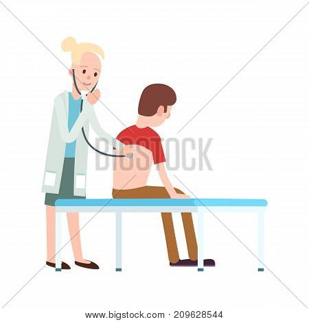 Doctor visit in clinic icon. Medical treatment and healthcare, clinical analysis, medical examination vector illustration.