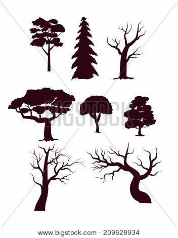 Deciduous forest trees with leaves set. Nature plants, greenwood black vector silhouettes isolated on white background.