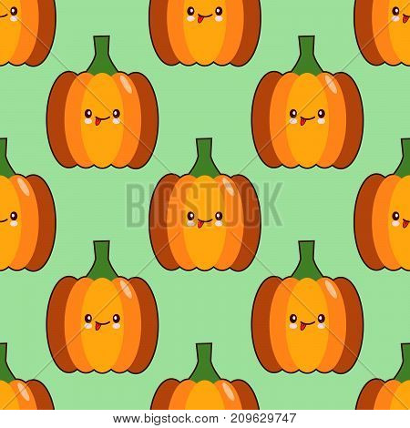 Seamless pattern background with kawaii style pumpkins on green background. Flat design Vector Illustration EPS