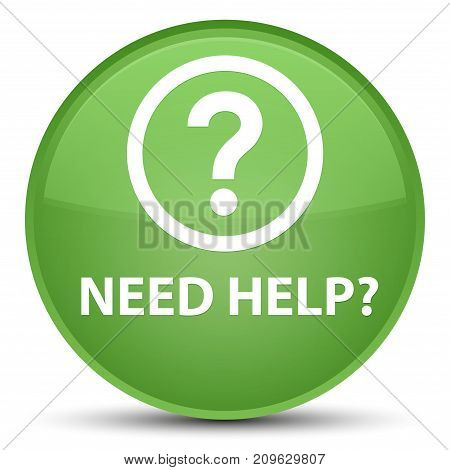 Need Help (question Icon) Special Soft Green Round Button