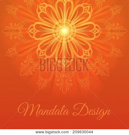 Mandala abstract background in bright orande colors, vector illustration
