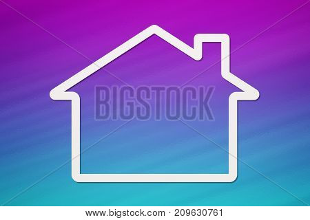 Paper house with copyspace on colorful background. Housing family concept. Abstract conceptual image