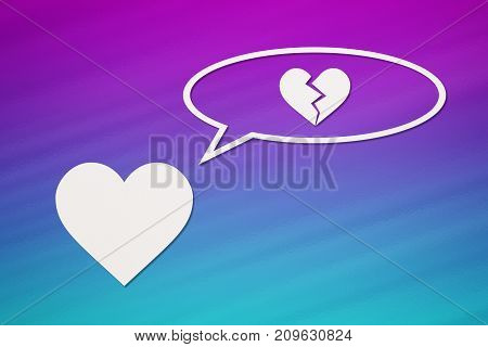 Paper heart is thinking about broken one on colorful background. Abstract conceptual image