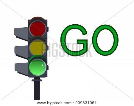 Green traffic light on white background . Go  illustration