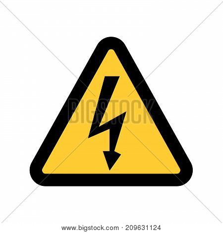 High Voltage Sign. Danger symbol. Black arrow isolated in yellow triangle on white background. Warning icon.  illustration