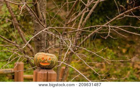 Jack-o-lantern On Wooden Railing