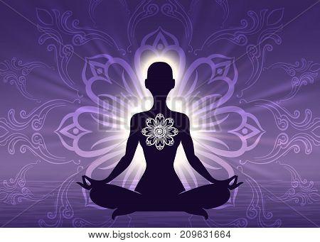 Meditation yoga woman silhouette on sunrise violet background, vector illustration