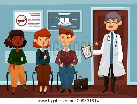 People line at hospital and doctor with stethoscope. Sitting patients waiting at clinic. Dentist and person or physician. Man and woman waiting for healthcare service. Healthcare and medicine theme