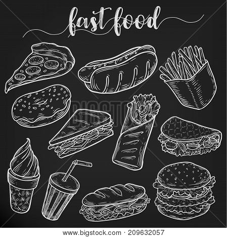 Fast food nutrition. Set of isolated sketches of hot dog with sausage, pizza slice and french fries, soda with straw and cone ice cream, donut and hamburger, taco. Junk greasy unhealthy food theme