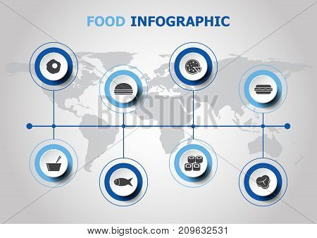 Infographic design with food icons, stock vector