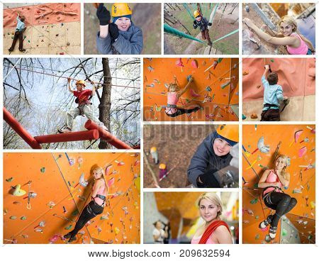 Collage with two people train on climbing wall indoor and outdoor