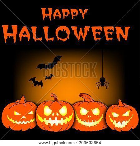 Inscription Of A Happy Halloween And Pumpkins
