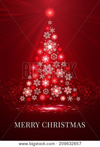 Merry christmas tree made from snowflakes on the red background, ector illustration