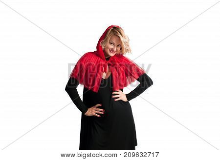 Beautiful Woman In Halloween Costume Little Red Riding Hood