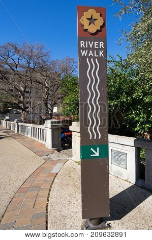 January 3 2016 San Antonio Texas: the river walk through the downtown area is a network of walkways along the banks of the San Antonio River