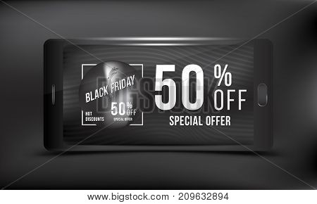 Black Friday 50 off discount. Concept advertising poster super sale of with smartphone on a dark background. Vector illustration EPS 10.