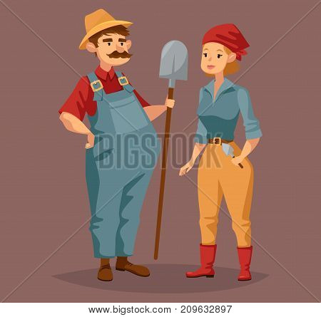 Gardener man with shovel and ground worker woman with trowel. Suburb people with agriculture or farming, cultivating summer or spring profession. Horticulture and workers theme