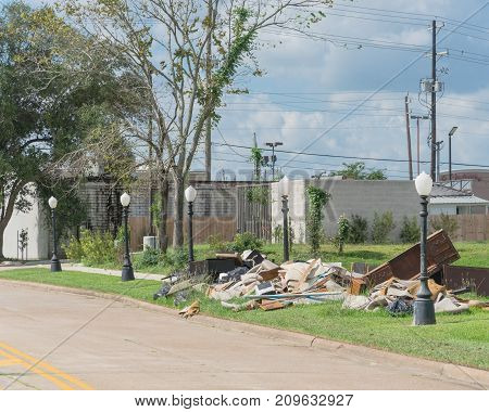 Devastation Of Hurricane Harvey In Pearland, Texas, Usa