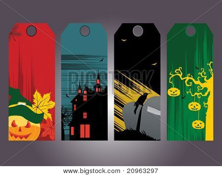 background with set of halloween concept tag
