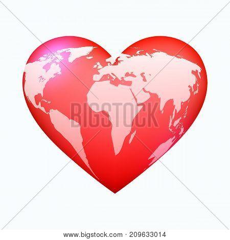 Red world heart, on white bckground, vector illustration