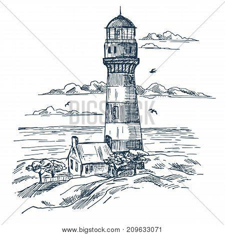 Sketch of lighthouse near worker house or building with trees, gulf and clouds in air. Sea or ocean shore with beacon or searchlight, night route guidance. Nautical and marine, architecture theme