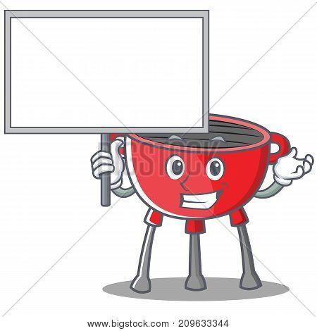 Bring Board Barbecue Grill Cartoon Character Vector Illustration