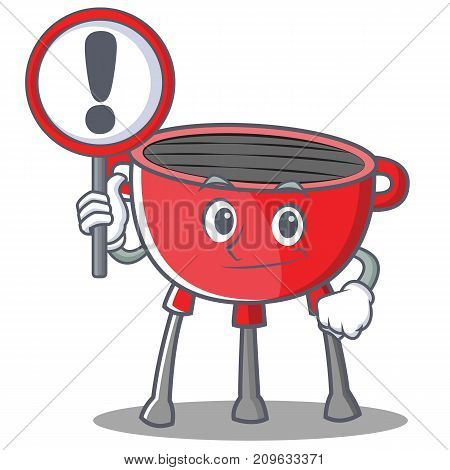 With Sign Barbecue Grill Cartoon Character Vector Illustration