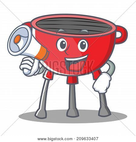 With Megaphone Barbecue Grill Cartoon Character Vector Illustration