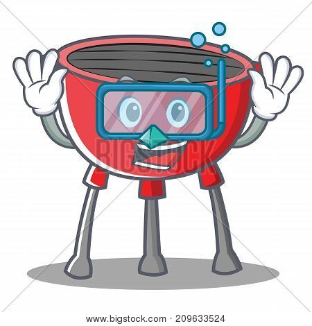 Diving Barbecue Grill Cartoon Character Vector Illustration