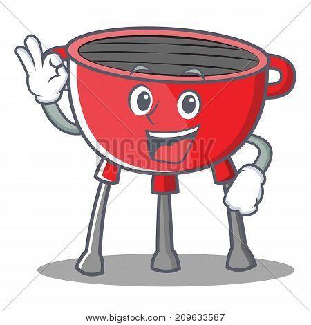 Okay Barbecue Grill Cartoon Character Vector Illustration
